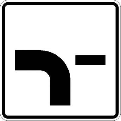 Zusatzzeichen Verlauf der Vorfahrtstraße (von unten nach links, Fall 2) 1002-13