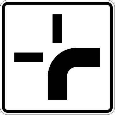 Zusatzzeichen Verlauf der Vorfahrtstraße (von unten nach rechts) 1002-20