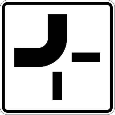 Zusatzzeichen Verlauf der Vorfahrtstraße (von oben nach links) 1002-11