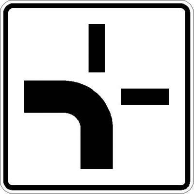 Zusatzzeichen Verlauf der Vorfahrtstraße (von unten nach links) 1002-10