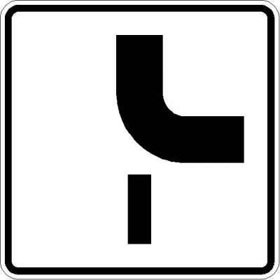 Zusatzzeichen Verlauf der Vorfahrtstraße (von oben nach rechts) 1002-24