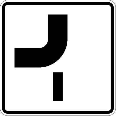 Zusatzzeichen Verlauf der Vorfahrtstraße (von oben nach links) 1002-14