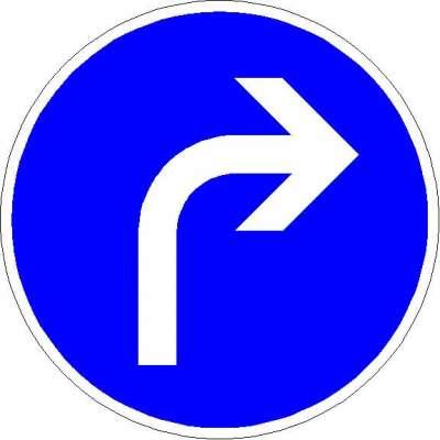 Vorschriftzeichen vorgeschriebene Fahrtrichtung - rechts 209-20