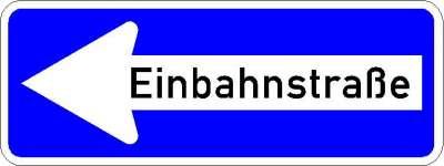 Vorschriftzeichen Einbahnstrasse linksweisend 220-10