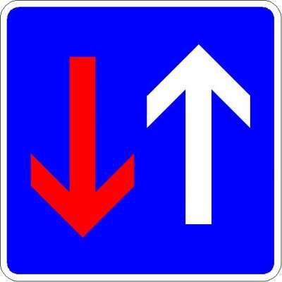 Richtzeichen Vorrang vor dem Gegenverkehr 308