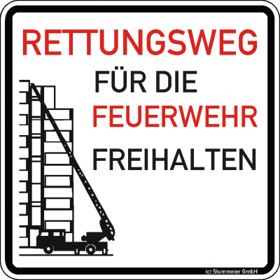 Warn/Hinweisschild Rettungsweg freihalten W21