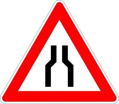 Gefahrzeichen verengte Fahrbahn 120