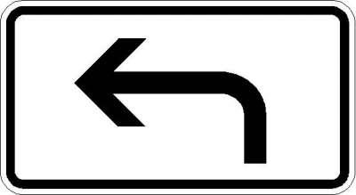 Zusatzzeichen Richtung der Gefahrstelle, linksweisend 1000-11