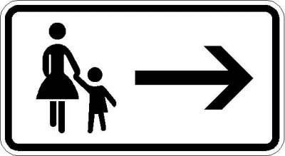 Zusatzzeichen Fußgänger Gehweg gegenüber benutzen 1000-22