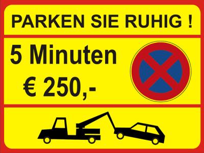 Parkplatzschild Parken Sie ruhig