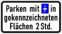 Zusatzzeichen Parken Parkscheibe in gekz. Flächen (individuelle Angabe) 1040-33