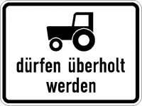 Zusatzzeichen Kraftfahrzeuge und Züge bis 25 km/h dürfen überholt werden 1049-11
