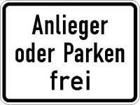 Zusatzzeichen Anlieger oder Parken frei 1020-31