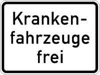 Zusatzzeichen Krankenfahrzeuge frei 1026-34