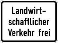 Zusatzzeichen landwirtschaftlicher Verkehr frei 1026-36