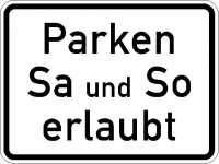 Zusatzzeichen Parken Samstag und Sonntag erlaubt 1042-37