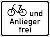 Zusatzzeichen Radfahrer und Anlieger frei 1020-12