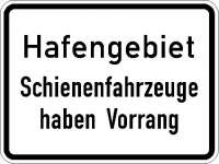 Zusatzzeichen Hafengebiet Schienenfahrzeuge haben Vorrang 1008-33