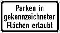 Zusatzzeichen Parken in gekennzeichneten Flächen erlaubt 1053-30