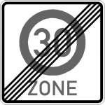 Vorschriftszeichen Ende Zone mit zul. Höchstgeschwindigkeit 30 km/h 274.2-50