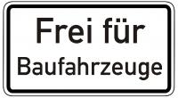 Warn/Hinweisschild Frei für Baufahrzeuge W1