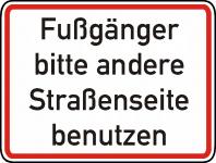 Warn/Hinweisschild Fußgänger andere Straßenseite W18
