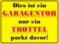 Parkplatzschild Garagentor - nur ein Trottel parkt davor